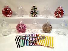 10 Vintage Plastic Sweet Jars 2 tongs 50 bags DIY Candy Buffet wedding party