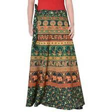 Cotton Maxi Long Skirt Animal Print Repron Sarong Women Boho Green Skirt