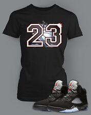 Womens T shirt to match Air Jordan 5 Black Metallic Shoe Bella Canvas Custom Tee