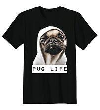 Funny Black T-Shirt Pug Life Thug Life Gangster Puppy Dog Tee