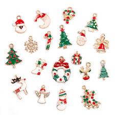 19pcs Metal Alloy Mixed Christmas Charms Set Jewellery Pendants Bracelet Decors