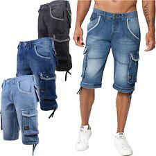 New Mens Jeans Denim Cargo Shorts Bermuda Crosshatch Multi Pockets Combat Pants