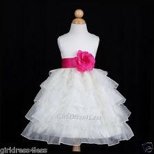 IVORY/FUCHSIA HOT PINK TIERED ORGANZA WEDDING FLOWER GIRL DRESS 12M 2 3/4 6 8 10