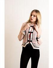 Lady chiffon long sleeves elegant bow buttons cardigan blazer jacket eveningCHIN