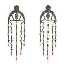 Pave Diamond Tourmaline Beads 18k Gold 925 Silver Chandelier Earrings
