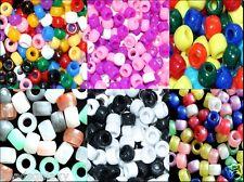 100 pcs acrylic pony beads, round, assorted, 9 x 6 mm & 10 x 8 mm