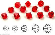 Czech MC Glass Bicone Beads (Rondell/Diamond) Light Siam, light red crystals