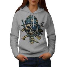 Wellcoda Pirate Skeleton Womens Hoodie, Crossbones Casual Hooded Sweatshirt