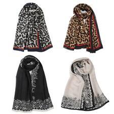 Large Animal Print Leopard Brown Faux Silk Satin Wrap Shawl Neck Scarves
