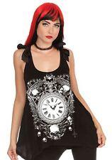 Jawbreaker Alchemy Gothic Skull & Clock Sheer Skull Lace Back w/ Bow