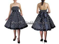 D107 BLACK SATIN TRIM STRAPLESS ROCKABILLY POLKA DOT DRESS WOMENS PLUS 18 TO 28
