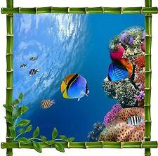 Sticker mural déco bambou Poissons Tropicaux réf 5213