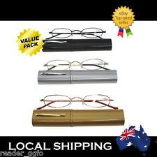 3Pair G&G Carry Around Reading Glasses Pen Tube Case 1.0 1.5 2.0 2.5 3.0 3.5 4.0
