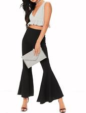 Women's Flared Frill Trousers Bell Bottom Wide Leg High Waist Ladies Black Pants