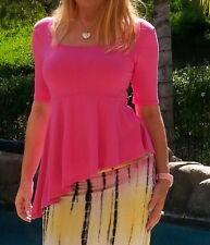 Maya Antonia Hot Pink Asymmetric Ruffle Peplum Top