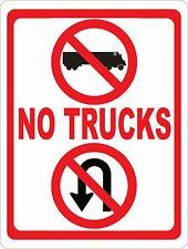 No Trucks No U Turns Sign. Size Options. Prevent Truck Turn Arounds & U-Turns