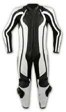 Tuta Pelle Intera Moto Racing Pista Professionale Protezioni Omologate Bianco
