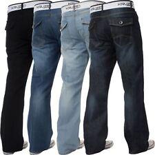 New Mens Bootcut Jeans Kruze Denim Black Blue Trousers Flared Wide Leg Pants
