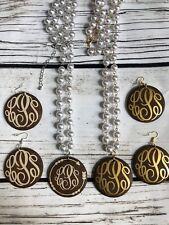 """30"""" Pearl with Wood Pendants (monogram vinyl blanks)"""