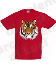 T-SHIRT TIGRE ANIMALI TIGER MAGLIETTA PER BAMBINO BAMBINA felini ritratto tigre