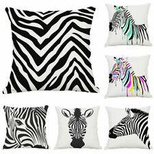 Zebra Stripe Pillow Case Soft Waist Cushion Cover Cotton Linen Home Decor