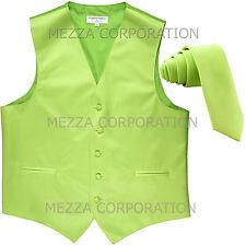 "New Men's Vesuvio Napoli Tuxedo Vest 2.5"" Skinny Necktie prom party Lime Green"
