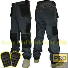 Mens Work Trouser Tuff Multi/Knee Pocket Pro Pants Triple Stitch FREE KNEE PADS