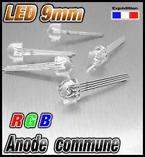 753# LED 9mm RGB grand angle  anode commune au choix de 10 à 100pcs