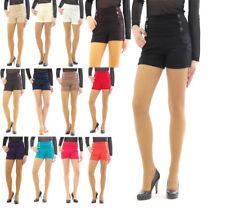 Shorts hoher Bund mit Taschen Knöpfe seitlich Taille kurze Hose Mini Hot Pants