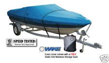 Wake Monsoon Premium Boat Cover Fits Fishing Ski Bass 16-18 FT Blue