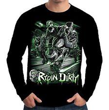 Velocitee para hombre de manga larga camisetas Rydin sucio Esqueleto Motociclista Motocicleta A11497
