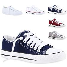 Bequeme Damen Sneakers Low Cut Canvas Schuhe Basic Schnürer 811545 New Look