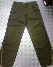 Verde Italiano Estilo Militar Pantalones Rectos & rodilleras & cremalleras