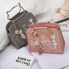 Girls Cute Cat Print Shoulder Leather Handbag Lady Crossbody Tote Messenger Bag