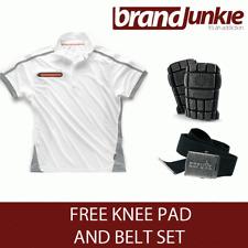 SCRUFFS WHITE ACTIVE PRO ZIP POLO Hardwearing Work Shirt + FREE KNEE PADS & BELT