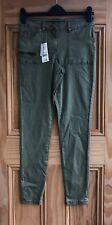 Ladies Brand New Khaki Green Soft Feel Stretchy Denim Jeans Size 8 - 18