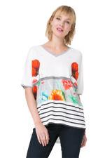 Desigual White Bright Maria Luisa Stripe Floral Tshirt Top XS-XXL UK 8-18 RRP�49