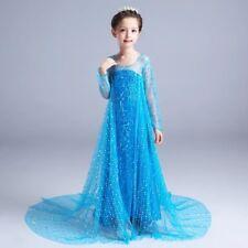 Kids Girls Sequins Dress Elsa Frozen long dress costume Princess party dresses