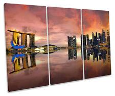 Singapore Skyline City Sunset Print CANVAS WALL ART Triple Panel
