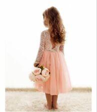 Blush Tutu Layered Tea Length Lace Dress Bohemian Flower Girl Classic Dress