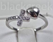 925 Sterling Silver~Lady's Heart~Cross~C.Z~ Wrap Ring Size 4/5/6/7/8/9/10