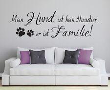 Wandspruch: Hund Familie Spruch Aufkleber Deko Haustier Wandaufkleber WandTattoo