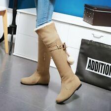 Women Knee High Bow Tassel Flat Hidden Wedge Boots Winter Sexy Casual Shoes Sz48