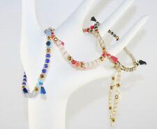 Stretch Stackable Beaded Bracelet / Tassel Bracelet 6 1/2 - 6 3/4 Inches
