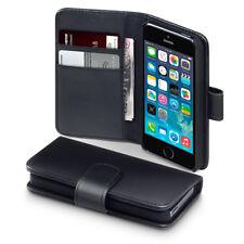 Genuino Real Cuero caso iPhone 5 & 5SE Billetera Portatarjetas Estilo Libro Cubierta