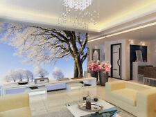 3D Arbre Enneigé 25 Photo Papier Peint en Autocollant Murale Plafond Chambre Art