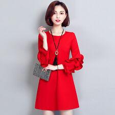 Korean Womens Pullover Mid Long Dress Slim Fit A Line Skirt Formal Formal Chic