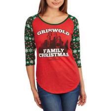 "NEW! JUNIORS' ""GRISWOLD FAMILY CHRISTMAS"" HOLIDAY BASEBAL REGLAN TEE MEDIUM, LA"
