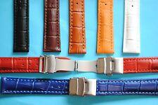 Leder Uhrband mit Faltschliesse Krokoprägung 18-24mm schwarz braun rot orange