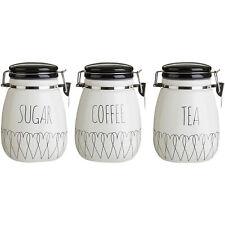 Premier Heartlines Tea Coffee Sugar Canisters - Kitchen Storage Ceramic Clip Jar